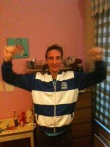 Matt Bell 'in my replica 1982 FA Cup final tracksuit'