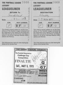 Jeanette's FA Cup Final Ticket and League Liner seat.