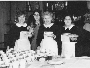 Jeanette (2nd left) in the players tea room.