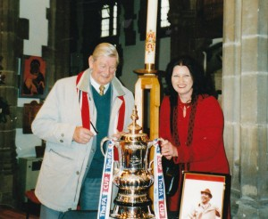 Jeanette and her late father Bill with the FA Cup at the Bob Stokoe memorial evening.
