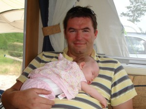 Russ Dutton with baby daughter Keira