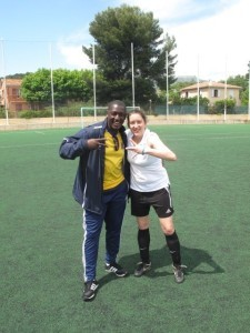 M Salut's daughter Nathalie with the Toulon coach Amadou Diatta
