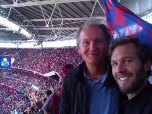 Mick: 'me and my son Dominic at the play-off final against Watford last year ... great day'.