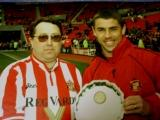 Deputy Editor Malcolm Dawson (in his slim days!) with SuperKev at the Stadium of Light