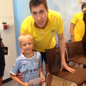 Costel with the son of Nick March, a Man City-supporting former Who are You? interviewee