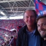 Mick: 'me and my son Dominic at the play-off final against Watford'