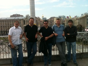 Mike, second from left, with a group of SW Stokies in Independence Square in Kiev before the 2011 Europa League tie against Dynamo Kiev