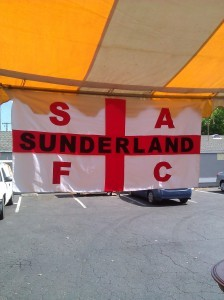 Jesse's flag at the pre-match pub