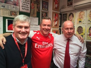 Pat Rice and Liam Brady flank Dave Seager