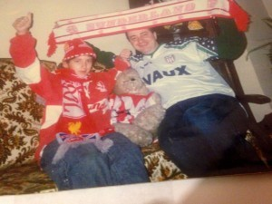 1991 and all that: Nathalie in red, her dad in, er, a gruesome away top